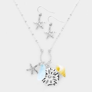 Nautical beach charm seashell silver necklace set